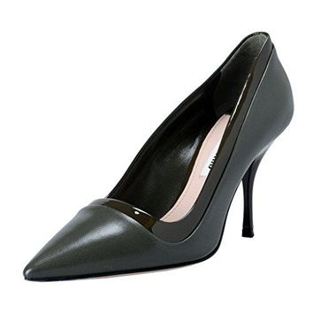 Miu Miu Women's Olive Leather High Heel Pointy Toe Pumps Shoes