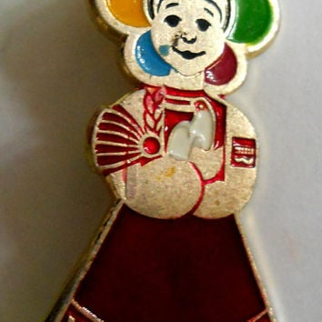 Moscow 1985 Pin, Student Festival, Girl with Dove of Peace Badge, Vintage USSR Rare Soviet metal collectible Pins