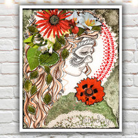 Of the Forest - fine art print, 40 works in 40 days, mixed media illustration, bohemian art, bohemian girl, red and green nature art