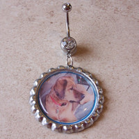 Bottle Cap Belly Ring Custom Made with Your Photo Body Jewelery
