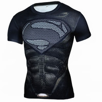 Compression T Shirt Men Superhero Comics Superman Fitness Quick Dry Tights Clothing Short Sleeve Man's T-shirt Brand Clothing