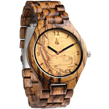 All Wood Watch // Zebrawood + Olive Ash