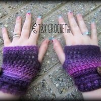 Crochet Fingerless Gloves, Wrist Warmers, Purple Fingerless Mittens, Steampunk Fingerless Mitts