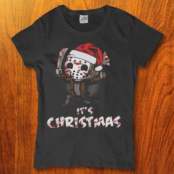Jason Voorhees friday the 13th its Christmas funny Women's t-shirt