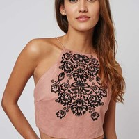 **Embroidered Faux-Suede Crop Top by Rare - Tops - Clothing