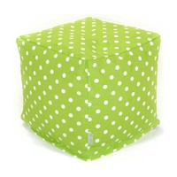 Small Printed Cube - Small Polka Dots - Lime