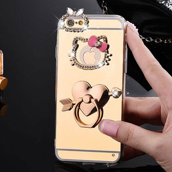 Mirror Electroplating Soft TPU hello kitty Bling diamond Metal Ring Stand Cases For iphone 7 7plus 6 6S Plus se 5s 5 phone case