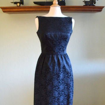 Vintage Classic Black Dress by Lanz Originals, New With Tags, Black on Black Floral Brocade Sheath Dress, Size 13, 1960s