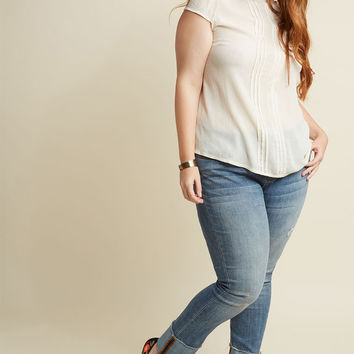 Pintucked Mock Neck Top