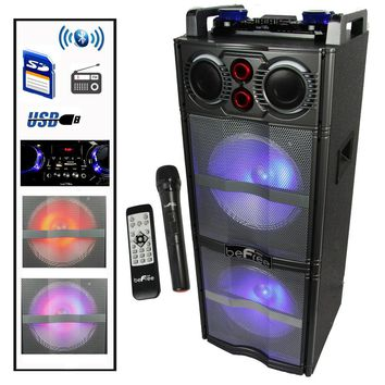 beFree Sound Double 10 Inch Subwoofer Bluetooth Portable Party Speaker with Reactive Lights,  USB- SD Input, FM Radio, Remote Control and Microphone