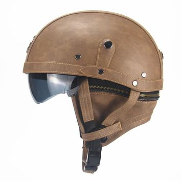 Motorcycle Half Open Face PU Leather Helmet Visor With Collar