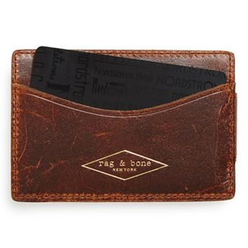 Men's rag & bone Leather Money Clip Wallet - Metallic