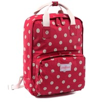 red polka dots canvas laptop backpack bookbag travel bag daypack  number 1
