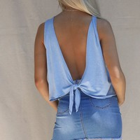Live Fast Sky Blue Open Back Crop Tank
