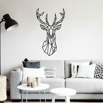 Geometric Deer Head DIY Wall Sticker Removable Minimalism Nordic Animal Wallpaper Living Rooms Poster Wall Paintings Home Decor
