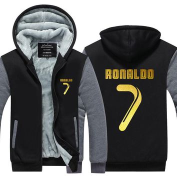 FIFAI 2017 Winter Zipper Thicken Fleece Coat Ronaldo NO.7 outwear Hoodies US EU Size Plus Size