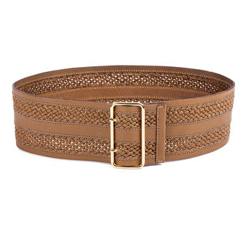 Inset Braid Wide Waist Belt