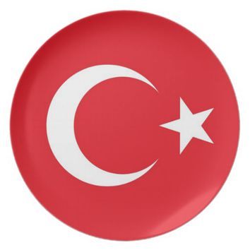Turkish Flag on Dinner Plate