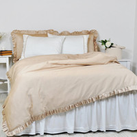 Ruffled Bedding, Full Queen King Size Ruffle Duvet Cover & Sheet Set, Ivory Ecru Beige Luxury Cotton Satin - Romantic, Shabby Chic Bedding