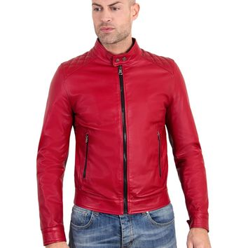 Red Handmade Leather Jacket