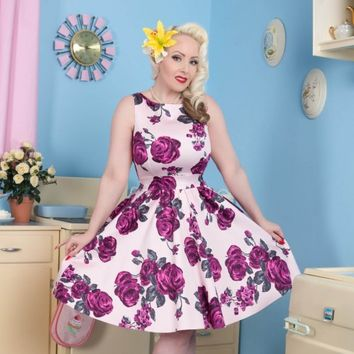 Lady Vintage Violet Rose Tea Dress l Rockabilly Retro Floral