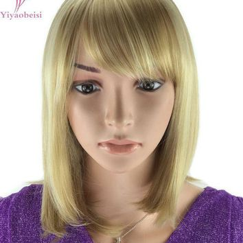 ESBONT Yiyaobess 30cm Highlights Blonde Ombre Wig For Women Heat Resistant Synthetic African American Medium Bob Wigs With Bangs