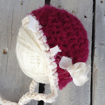 Raspberry Crochet Hat, Raspberry Bonnet, Hat, Newborn Hat, Photography Prop, Photo Prop, Newborn, Baby, Beanie, Hat, Christmas, Vintage