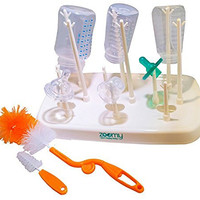Baby Bottle Drying Rack Kit by Zoomy Baby - Lightweight, Compact Bottle Storage - Dries Baby Accessories (Baby Pacifiers, Breast Pumps, Baby Toys, & More) - BONUS: Nipple Brush and Bottle Brush