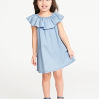 Ruffled Chambray Dress for Toddler Girls|old-navy