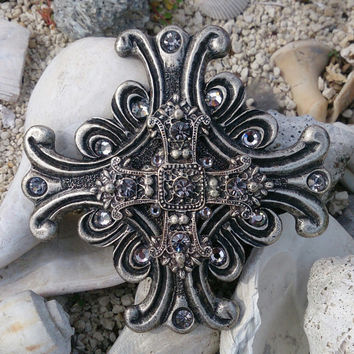 Crystal Antique Silver Cross Belt Buckle Western Cowgirl