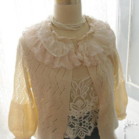 Redesigned Cardigan Sweater Jacket Cute Ruffles Lace Peter Pan Lace Collar  soft warm beige cream color top blouse