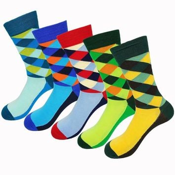 New socks British Style Plaid Socks Gradient Color Men's Cotton argyle Socks High Quality