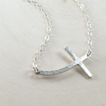 CURVED - Hammered Sideways Cross Necklace, Sterling Silver Horizontal Cross, Kelly Ripa Curved Cross, Christmas Gift, Birthday Gift