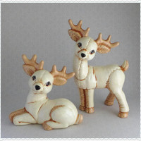 Large Deer Figures, Cream Ceramic, Light Brown, Green Polka Dots, Two Reindeer, Deer Figurine, Woodland Animal, Vintage Christmas Home Decor