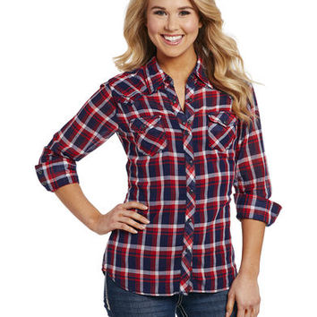 Cowgirl Up Women's Red and Blue Plaid Enzyme Wash Shirt