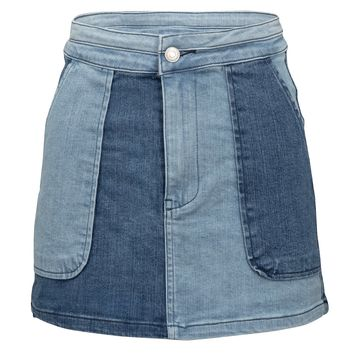 Dream On Blue Denim Two Tone Mini Skirt