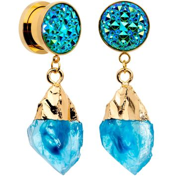 "1/2"" Blue Faux Druzy Quartz Gold Tone Dangle Screw Fit Plug Set"