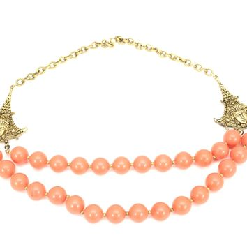 "Vintage Statement Necklace Double Strand Faux Coral Beads Gold Tone Asian Face Accents 21"" 1940s"