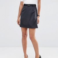 ASOS Belted Mini Skirt in Pinstripe at asos.com