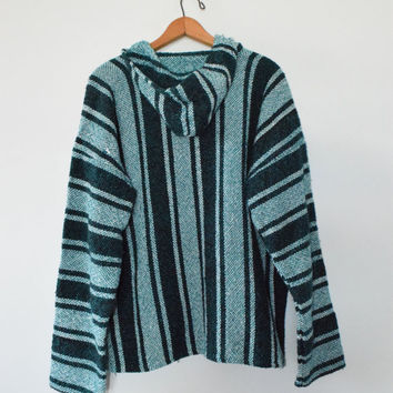 STRIPED BAJA HOODIE || size adult large || 90s || schwag rag || california || hippie || mexican || drug rug || hoodie || vintage!