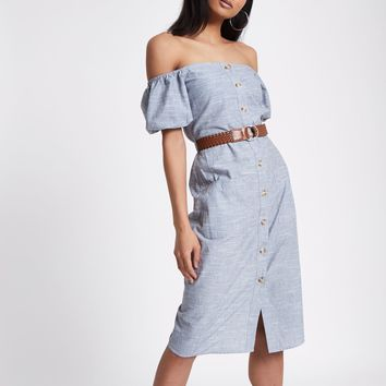 Blue button through bardot dress - Bardot & Bandeau Dresses - Dresses - women