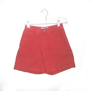Vintage 90s Guess High Waisted Shorts Red Denim Jean Hipster Club Kid Festival 26 XS Small