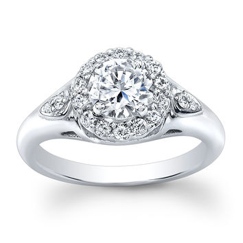 Ladies 14k white gold engagement ring with 1.60ct white sapphire center 0.33 ctw G-VS diamonds
