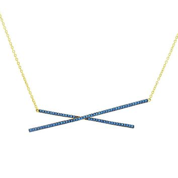 Natesani Turquoise Double Bar Gold Pendant Necklace