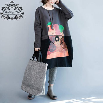 Plus Size Women T-Shirt Autumn Thickening Cotton Female Bear Print Loose Long Full Sleeve Big Size Patchwork Dress With Pocket