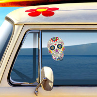 Mexican Sugar Skull Car Decal - Vinyl Waterproof Bumper Sticker Laptop Decal Day of the Dead Dia de los Muertos Decorative Flower Calavera