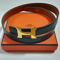 Authentic HERMES Belt Black Brown Leather H Gold Buckle B 65