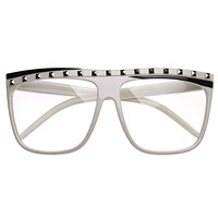 Hipster LMFAO Party Rock Clear Lens Studded Flat Top Glasses 8484