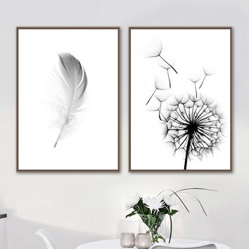 Dandelion Feather Wall Art Canvas Painting Nordic Posters And Prints Canvas Art Black White Wall Pictures For Living Room Decor