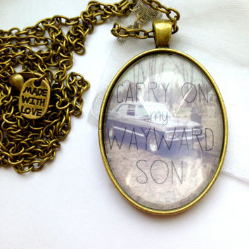 "Supernatural ""Carry On My Wayward Son"" Inspired Necklace - With Long Bronze Chain And 'Made With Love' Charm"